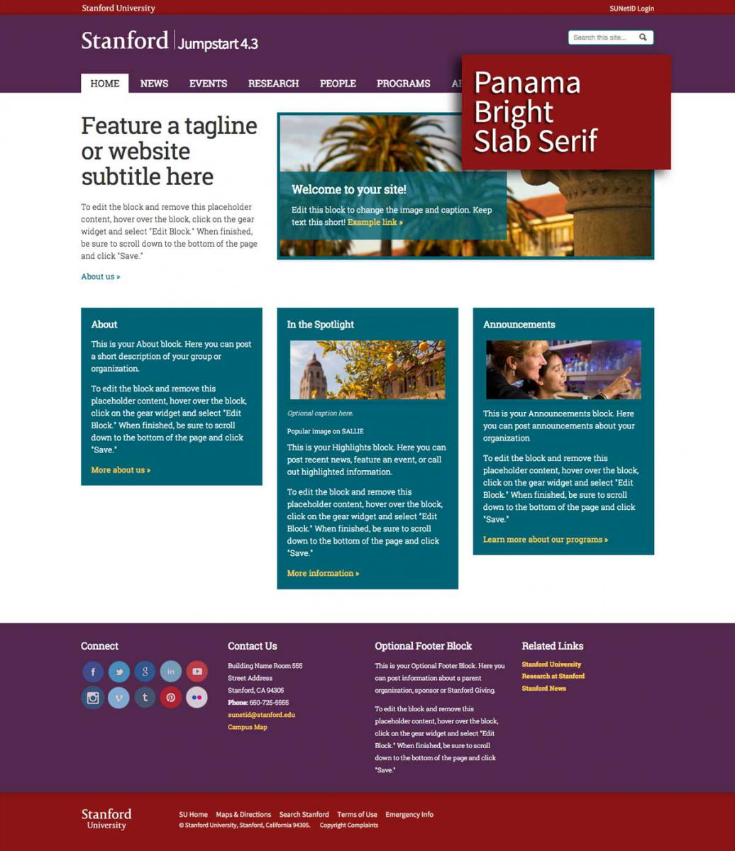 Example Of The Panama Bright Layout With Slab Serif Font