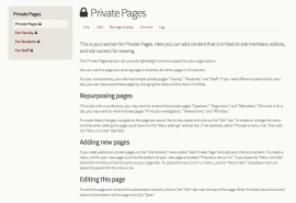 private page section preview