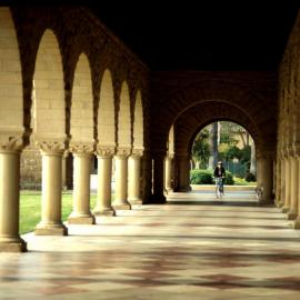 Stanford Quad with a bike in the collonade