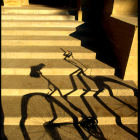 Shadow of a bike in the quad